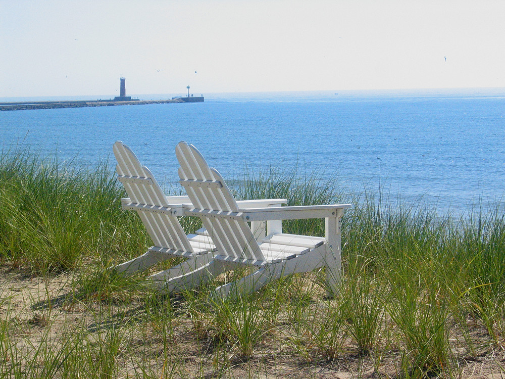 White Adirondack Chairs with Ocean View