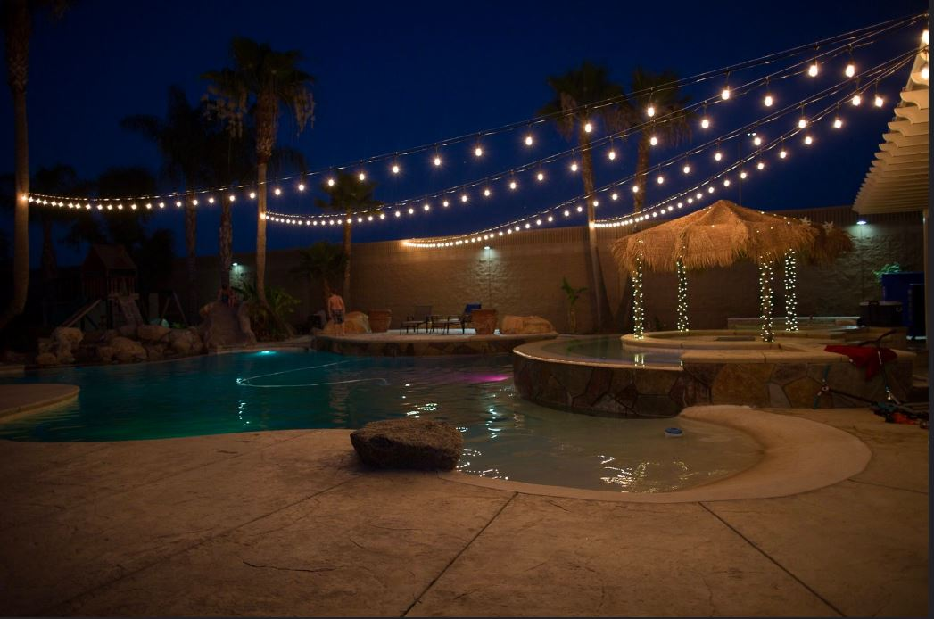 Patio Lights Hanging Above Pool