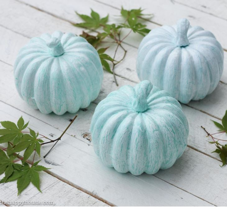 Light Blue Decorated Pumpkins
