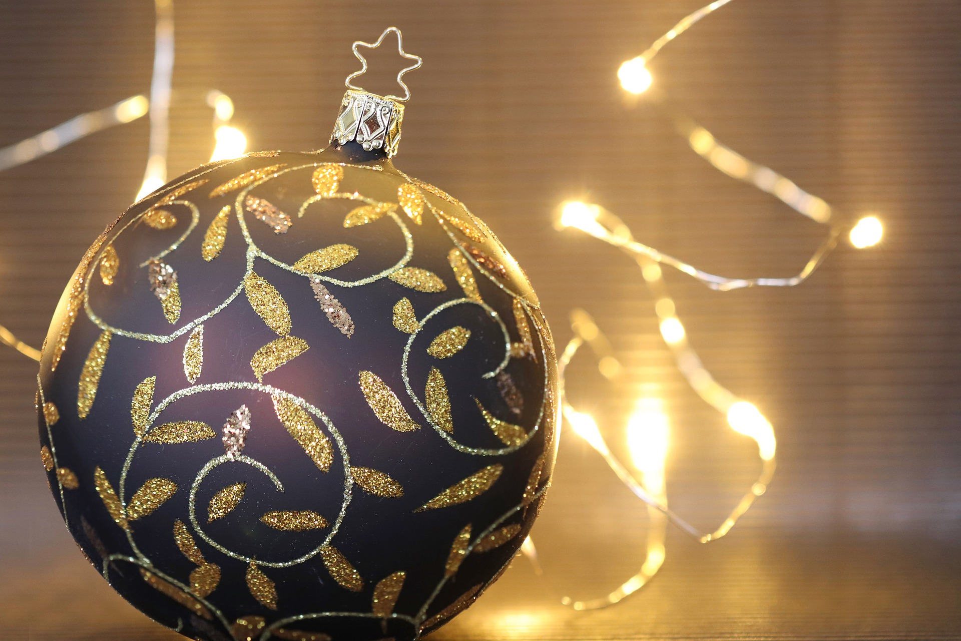 Gold and Black Christmas Ornaments