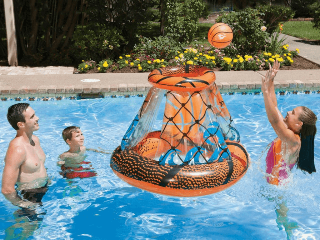 floating pool basketball game