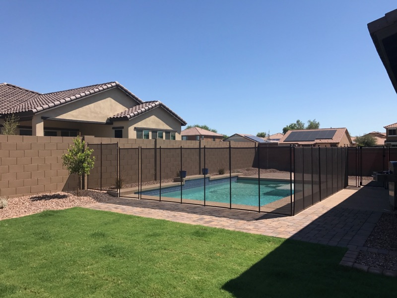 pool with fence around it