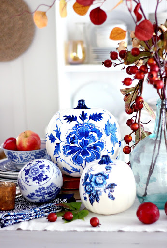 Blue Porcelain Pumpkins